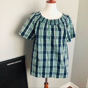 Talbots Navy/Green/Brown Plaid Elastic Neck Top